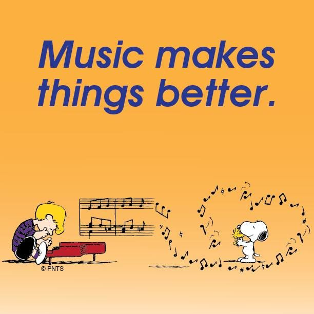 Music Makes Things Better - Schroeder Playing Piano While Snoopy and Woodstock Are Dancing