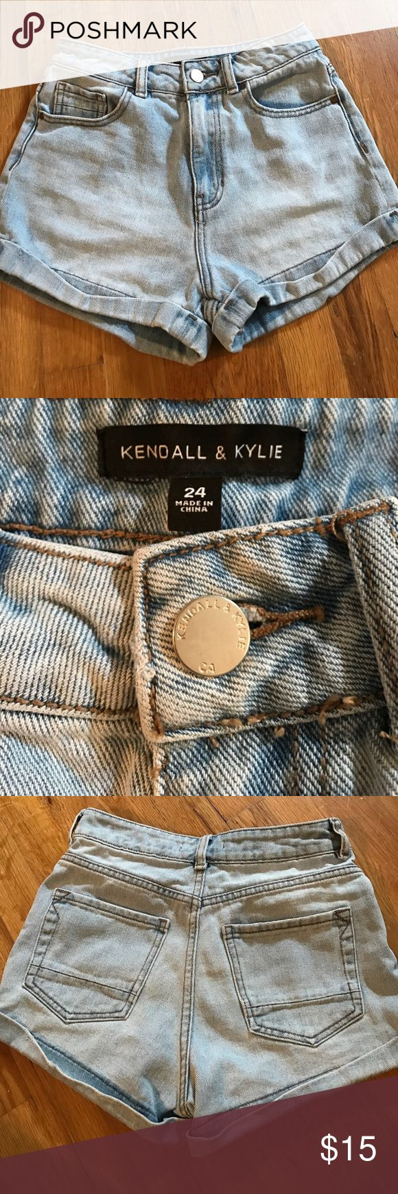 Kendall and Kylie High Wasted Shorts High wasted light wash denim shorts. Size 24. Brand is Kendall and Kylie. Kendall & Kylie Shorts Jean Shorts