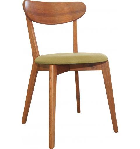 Enno Dining Chair, Ash Walnut/Lime Green Cushion