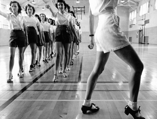 Tap dancing class in the gymnasium at Iowa State College Photo by Jack Delano, 1942.