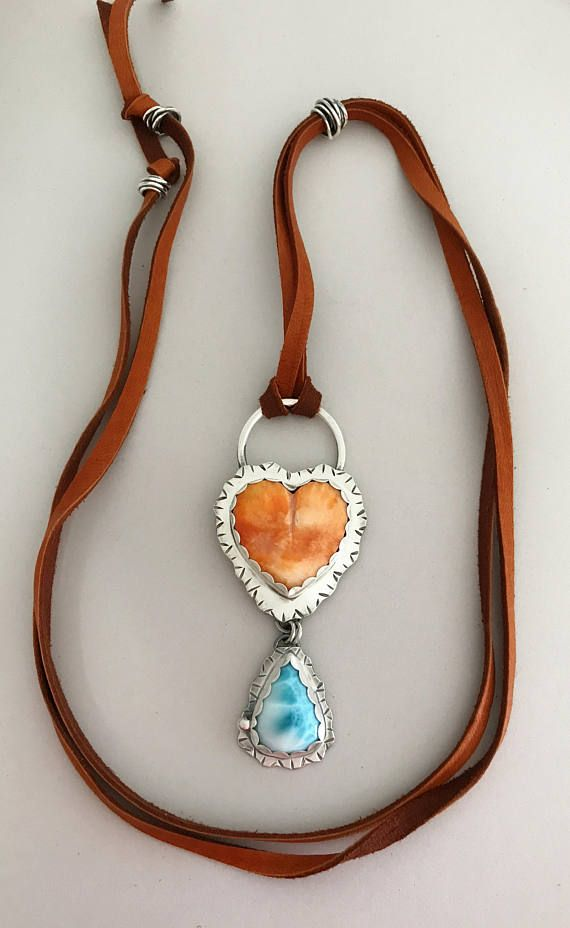 Custom made pendant. The heart is a Spiny Oyster Shell paired with a Larimar gemstone.  Sisters of the Sun® http://etsy.me/2yU0Esa #sterlingsilver #gemstonejewelry #heartnecklace #oneofakind