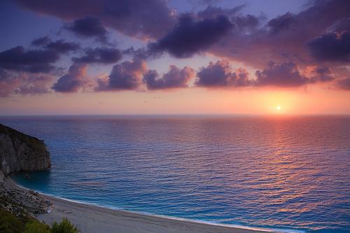 Stunning sunset at Milos Beach,Lefkada island, Greece