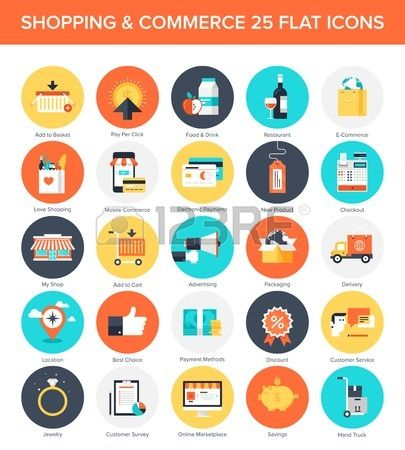 Abstract vector collection of colorful flat shopping icons. Design elements for mobile and web applications.#vector  #flat #design #icon #business #web #app #mobile