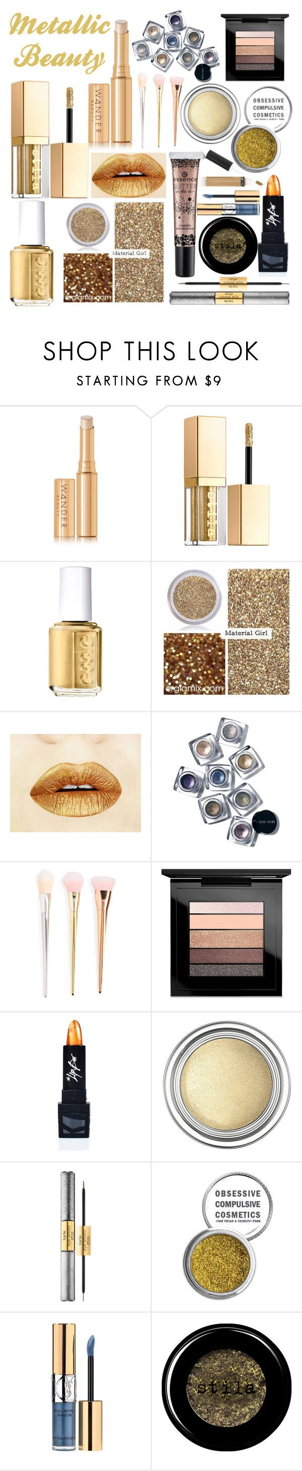 """""""Metallic Beauty"""" by northern-queen ❤ liked on Polyvore featuring beauty, Wander Beauty, Stila, Essie, Material Girl, Bobbi Brown Cosmetics, MAC Cosmetics, The Lip Bar, Christian Dior and tarte"""