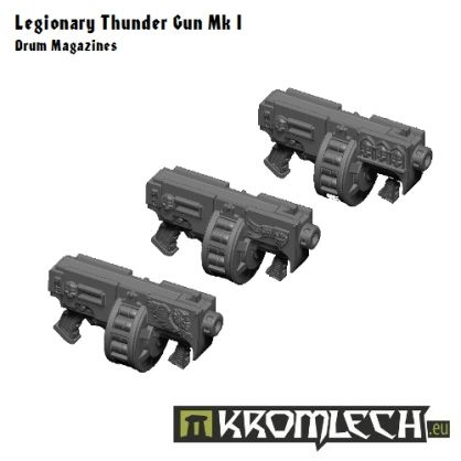 This set contains nine Thunder Guns for space legionary models.  There are three different designs and you get three copies of each.