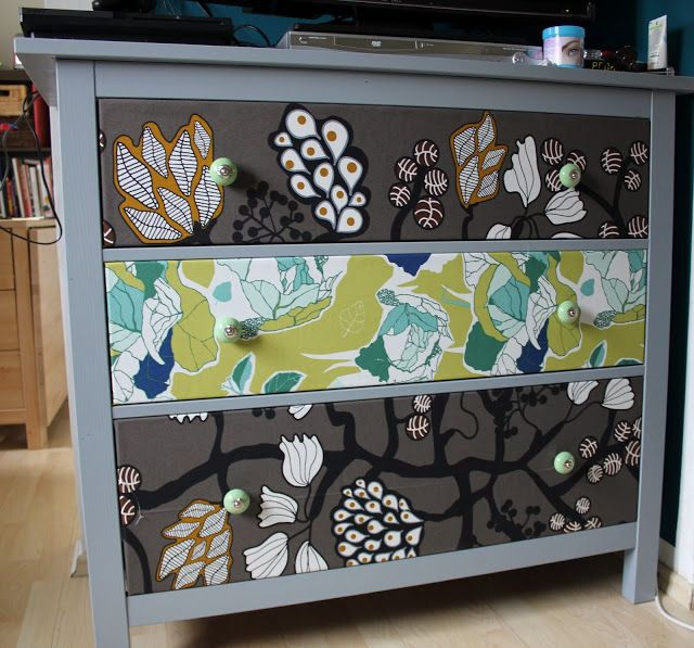 #ikea HEMNES chest of drawers: painted, covered with IKEA fabric, new hardware