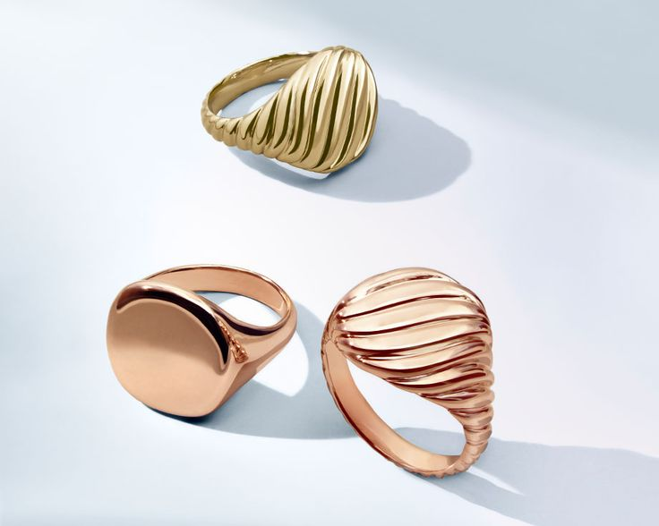 Pinky Rings in 18k yellow or rose gold.