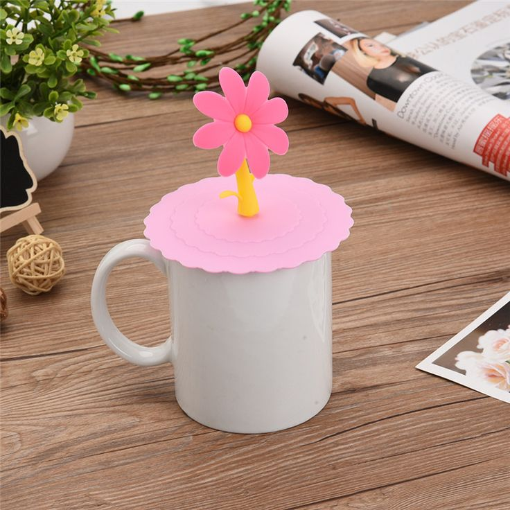 New Fashionable  Food-grade Silicone Cup Cover Heat-resistant Safe Healthy Silicone Lid  Sunflower High Quality #Affiliate
