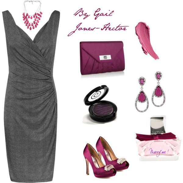 Charcoal dress with purple