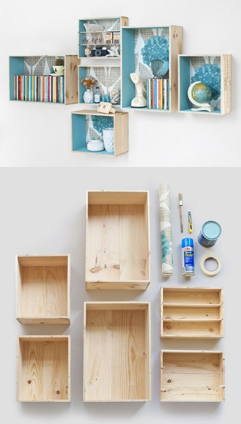 DIY decorative wooden shelving