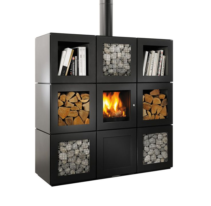 philippe starck's speetbox wood stove system conceived as stackable cube modules