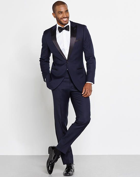 Midnight Blue Tuxedo, Cotton Dress Shirt, Black Satin Butterfly Self-Tie Bow Tie and Silver Onyx Cufflinks | The Black Tux | https://www.theknot.com/fashion/the-holden-outfit-the-black-tux-tuxedo