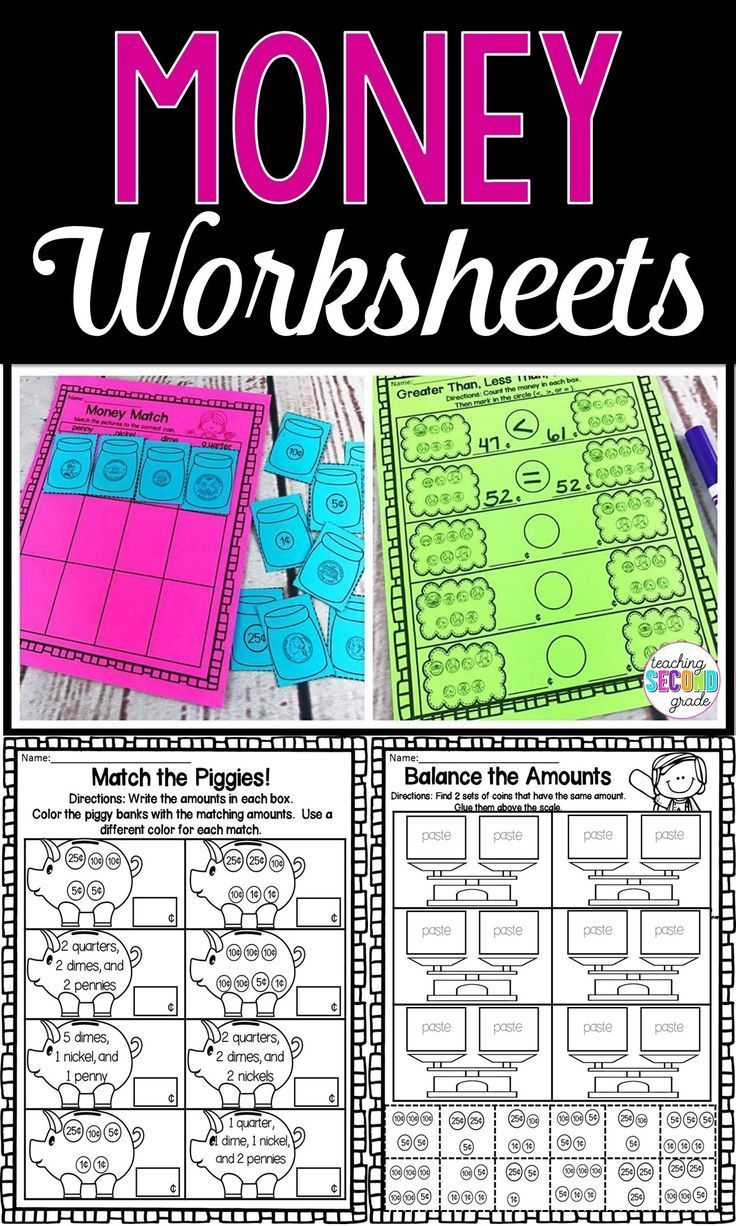 Use This 48 Page Resource With Your 1st 2nd Or 3rd Grade Classroom Or Home School Students These Printable Money W Money Worksheets Homeschool Math Teaching [ 1226 x 736 Pixel ]