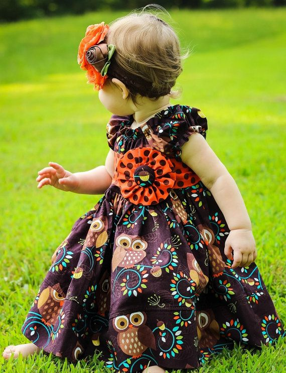 KATIE ENGLAND....CHECK THIS OUT, isn't it cute?  Girls Fall Orange and Brown Hoot Owl Peasant dress by ItsaBowsLife, $48.00