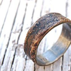 Amazon.com: cool mens ring bronze, unique wedding band bronze silver, mens wedding band, mens engagement ring wood grain ring mens ring anniversary gift: Handmade
