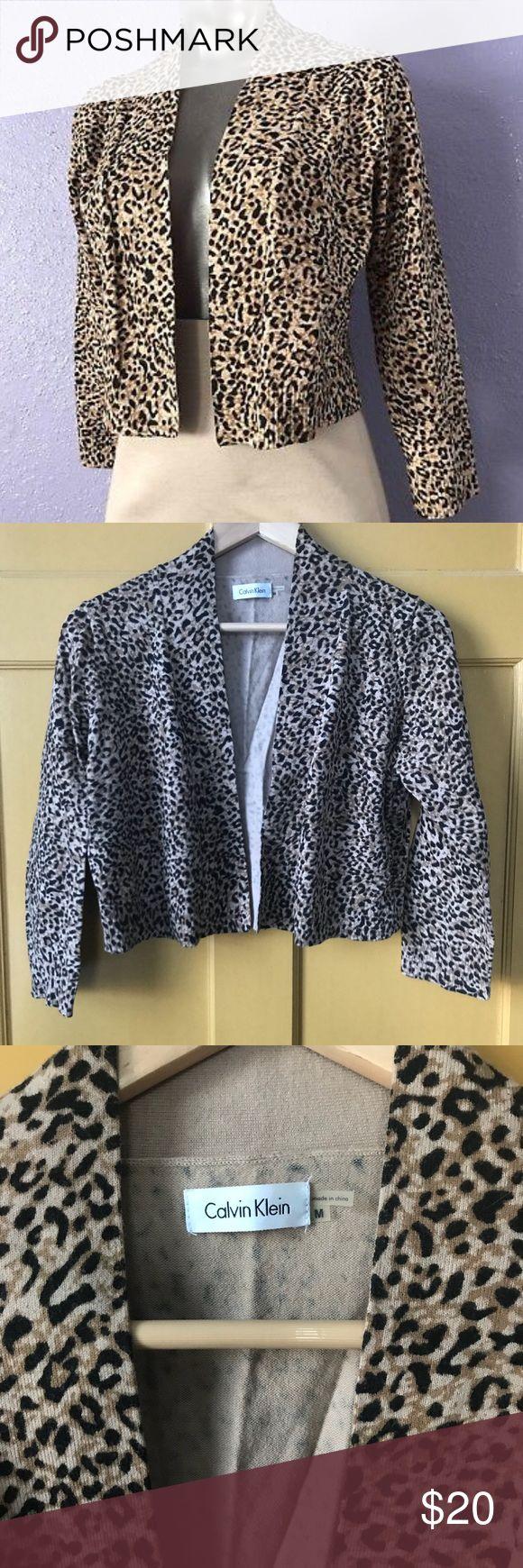 Calvin Klein Cheetah Print shrug EUC Size medium Calvin Klein Sweaters Shrugs & Ponchos
