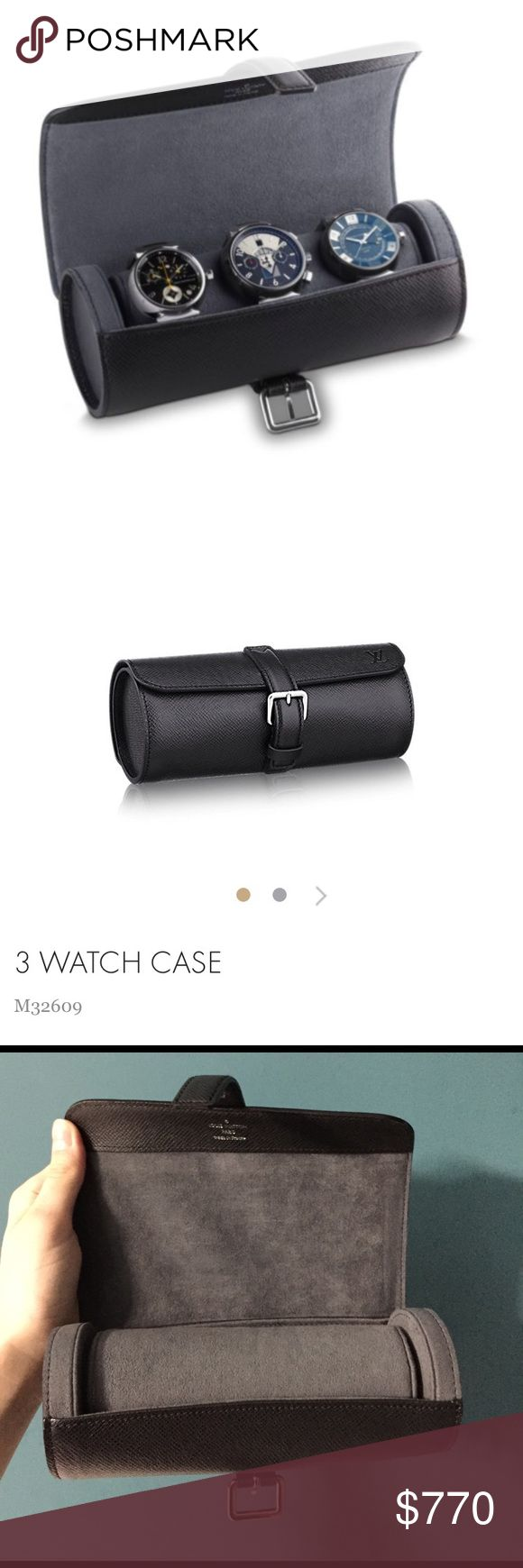 Louis Vuitton Taiga Leather 3 Watch Travel Case Authentic Louis Vuitton watch travel case. A true timeless luxury piece. Excellent condition, like new. Only one tiny scratch as shown in picture.                   From Louis Vuitton --- The 3 Watch Case in