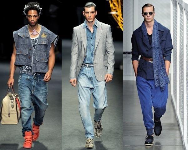 Оранжевые мужские джинсы галифе