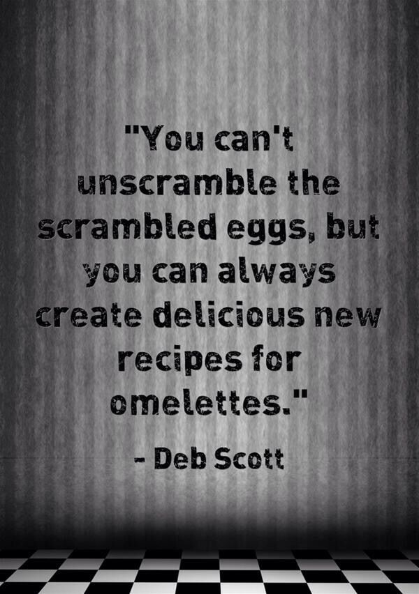 """""""You can't unscramble the eggs, but you can always create delicious new recipes for omelettes."""" I love this quote by Deb Scott, BA, CPC - Subscribe to life's Learning's blog at: http://lifeslearning.org/ I provide HIPPA compliant Online Telehealth Counseling. Scheduling is easy and online at: https://etherapi.com/therapist/suzanne-apelskog Twitter: @sapelskog. Counselors, join us at: Facebook.com/LifesLearningForCounselors* Everyone, Join us at: www.facebook.com/LifesLearningForEveryone *"""