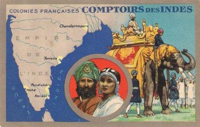 Carte des comptoirs français en Inde. #comptoirs #India #map