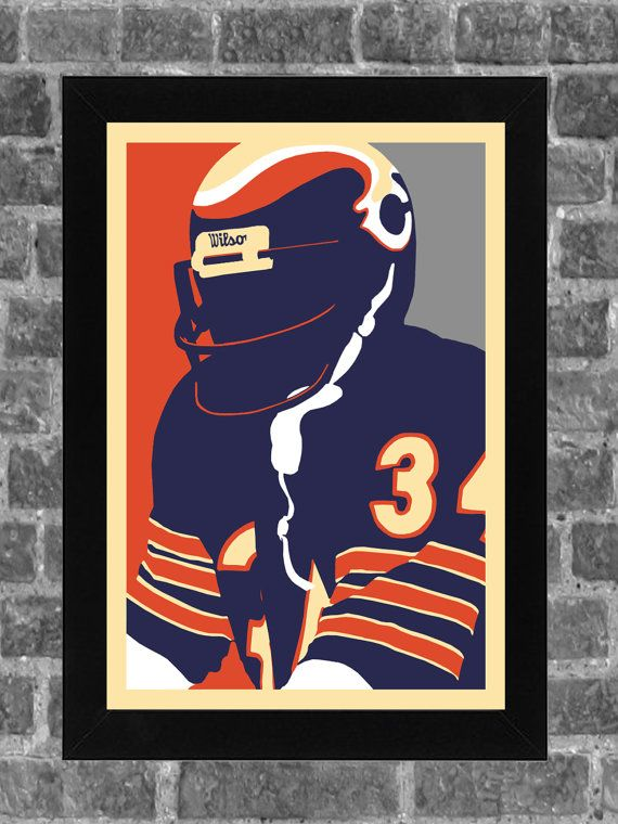 Chicago Bears Walter Payton Portrait Sports Print by FanFourLife
