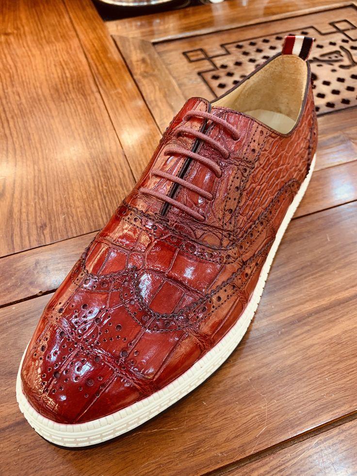 BRUCEGAO Casual Alligator Skin Oxford Brogue Wingtip Sneaker