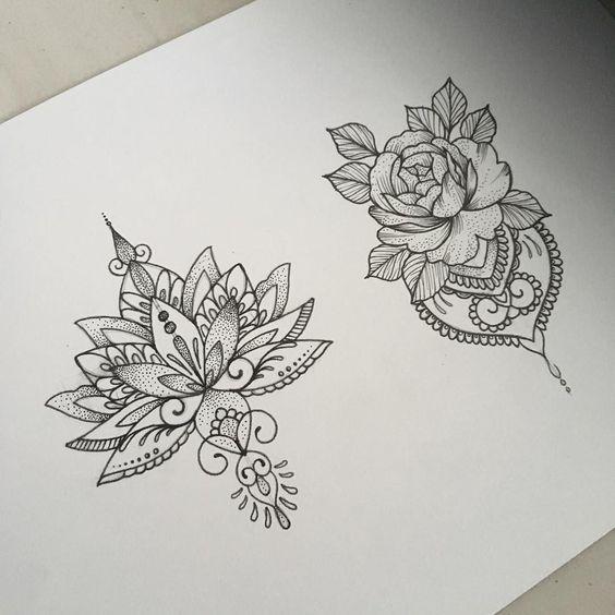 dessins tatouage mandala femme fleur de lotus et rose | idée