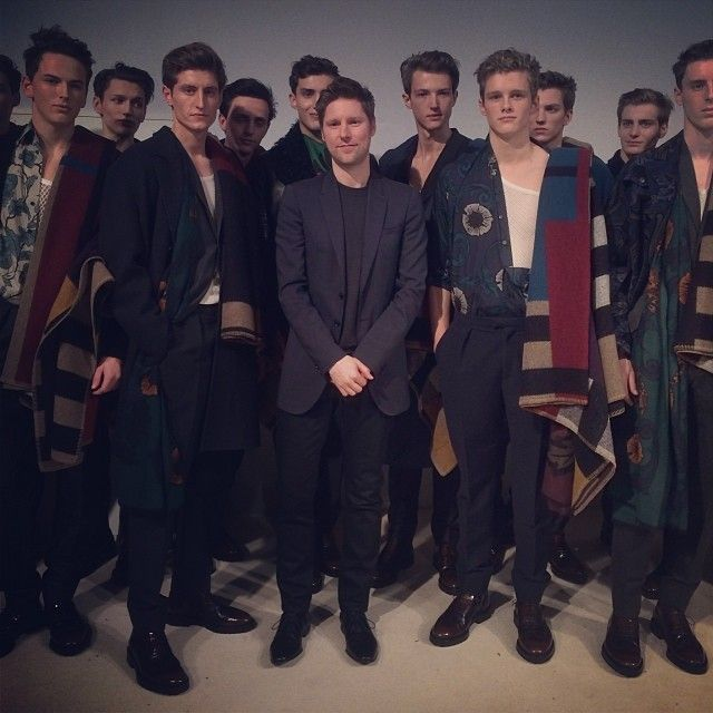 Christopher Bailey with models backstage at the #Burberry Menswear A/W14 show #LCM