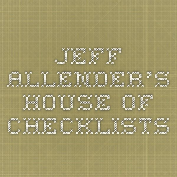 Jeff Allender's House Of Checklists