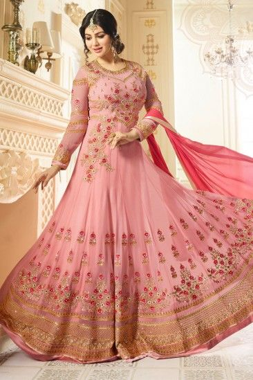 Celebrity Ayesha Takia Pink Georgette Anarkali Churidar Suit With Dupatta - DMV15378  #Eiddresses #Eid2018 #eidsuits #Eidanarkali #eid