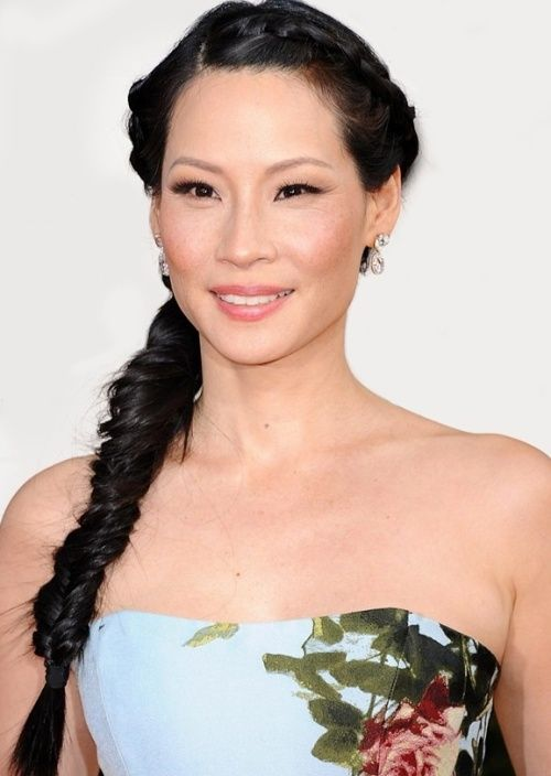 Actress Lucy Liu is right on trend with her pretty fishtail plait