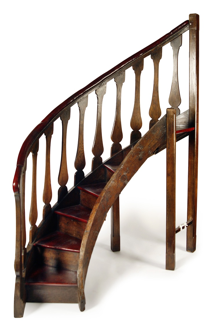 SET OF OAK SPIRAL LIBRARY STAIRS Sold For GBP1800