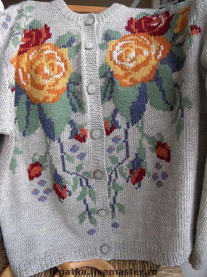 """Кофты и свитера ручной работы. Ярмарка Мастеров - ручная работа Жакет с вышивкой """"Розы"""".. Handmade."""