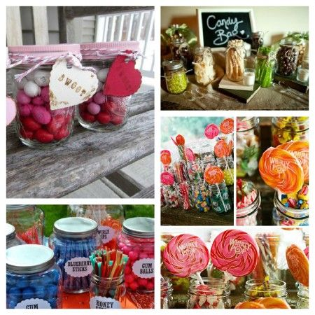 Candy Buffet candy container ideas, everything from mason jars for country chic or hit garage sales/thrift store for shabby chic