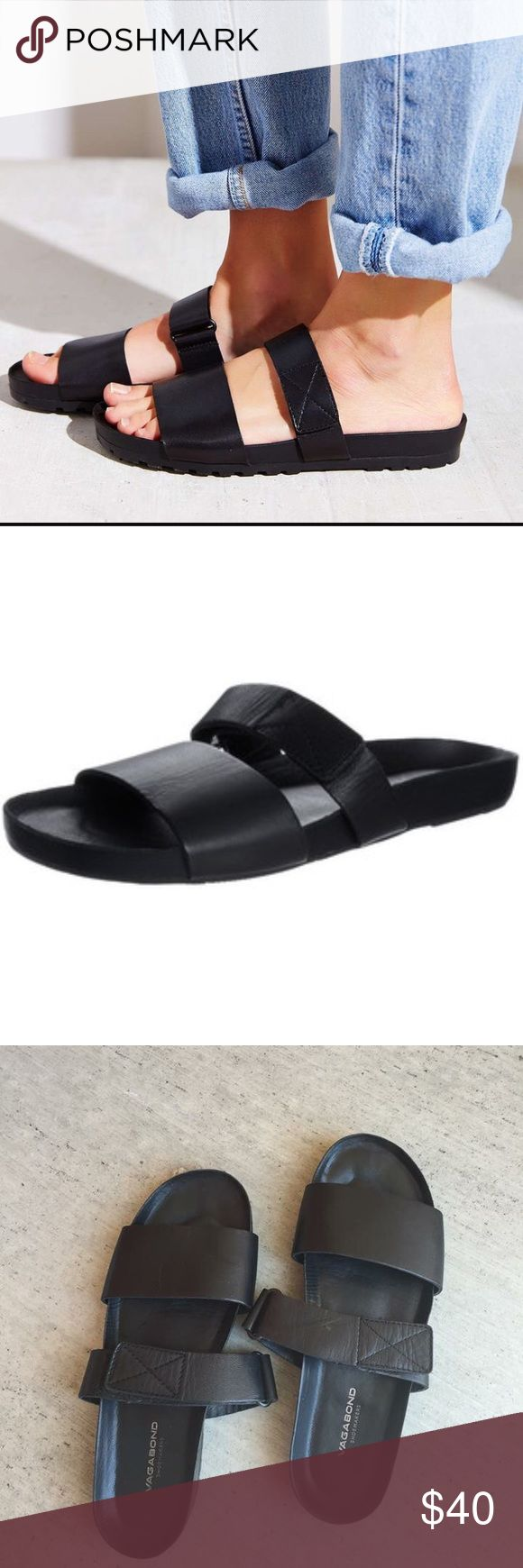 Vagabond Slide Sandals (Black) Vagabond slide sandals. SO cute but I have another pair of shoes that are basically the same as these. Velcro adjustable straps. Black. Only worn 3 times. Vagabond  Shoes Sandals