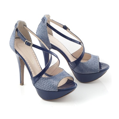 Chaniotakis   Sandal with plato in blue color