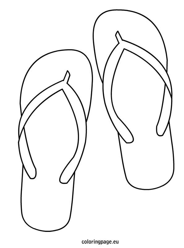 Flip Flop Coloring Page Flipflops Flip Flop Craft Black And White Flip Flops Colouring Pages