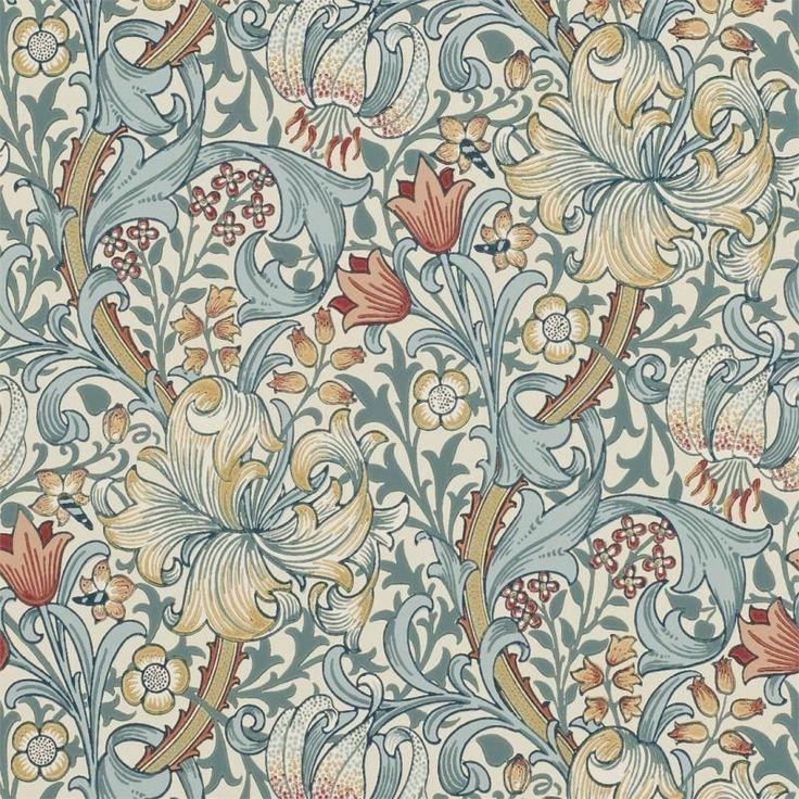 Golden Lily. Engelska tapeter designade av John Henry Dearle år 1899.