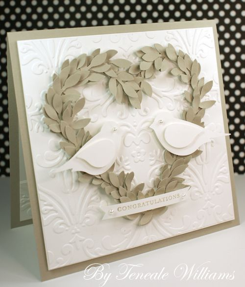 handmade wedding card ... white & kraft ... heart of punched leaves ... SU bird punch birds with pearl eyes ... sweet!! ... Stampin' Up! - There's something so beautiful in this card. The heart leaves could be quilled, or the birds.