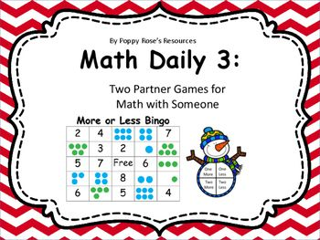 Here are two great partner games to use during your Math Daily 3.Children often have difficulty with the concept of more or less but when it is presented in a fun way, they become so engrossed in the game, they forget they are actually learning the concepts!This pack contains More or Less Bingo and Guess my Number.