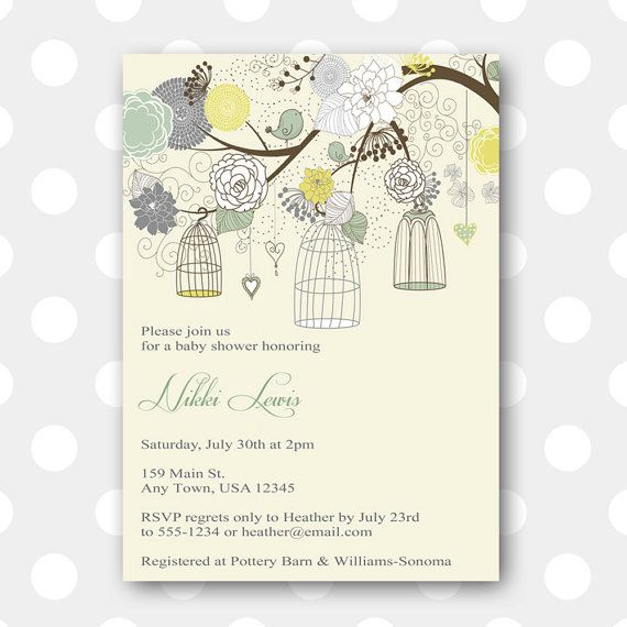Printable Baby Shower Invitation - Antique Birdcages