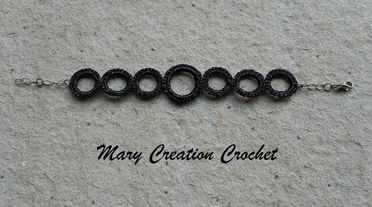 Braccialetto cerchietti uncinetto in cotone nero brillante di MaryCreationCrochet su Etsy