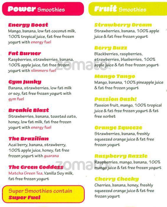 Fuel juice bar menu