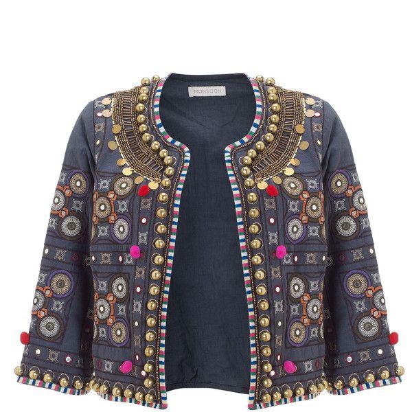 Monsoon Glasto Pom Pom Jacket (84 AUD) ❤ liked on Polyvore featuring outerwear, jackets, coats, casacos, tops, grey, embellished jacket, cotton jacket, indian jacket and gray jacket