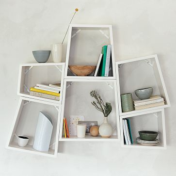 Angle Nesting Wall Shelves from West Elm. DIY inspiration for modern organization since they are no longer available.