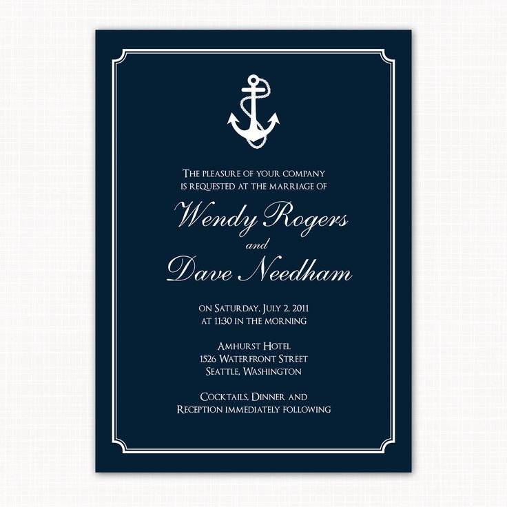 Nautical Themed Wedding Invitation Anchors Away 15 00 Via Etsy