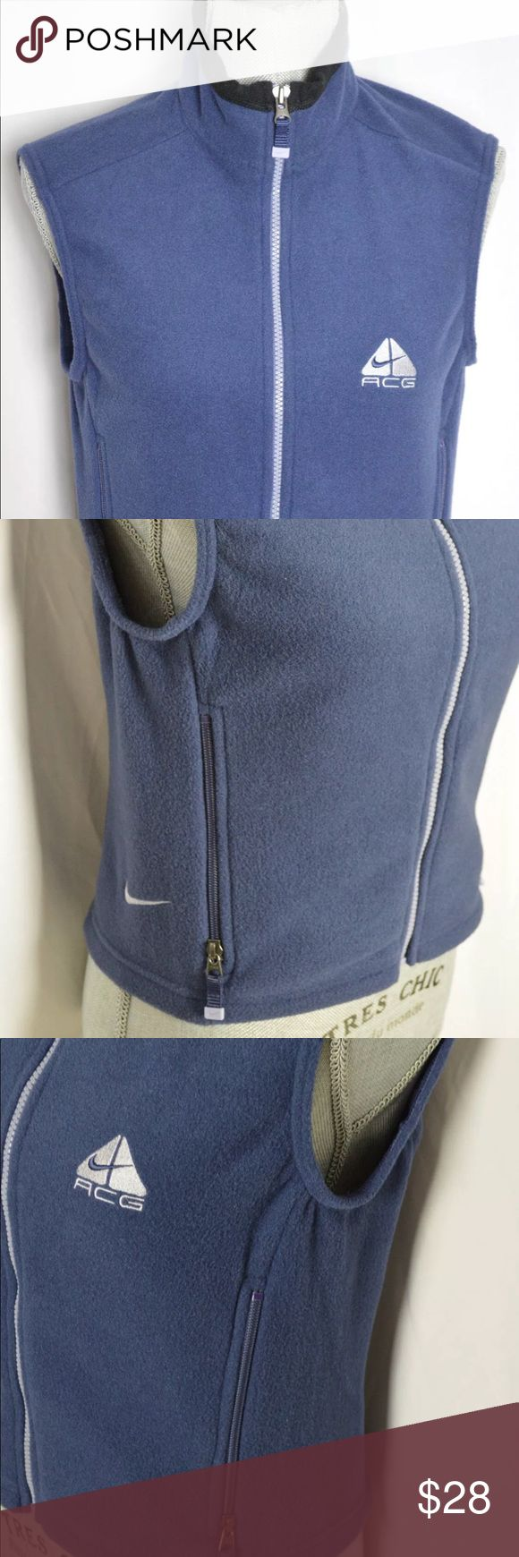 "Womens Nike ACG Polartec fleece jacket Size Small An excellent condition Womens Nike ACG Polartec blue short sleeve fleece jacket. Size Small.  Dimensions:-  Size:- Small Length:- 19"" Chest:- 17.75"" Shoulder:- 15.5""  Thanks for viewing! Nike ACG Jackets & Coats Vests"