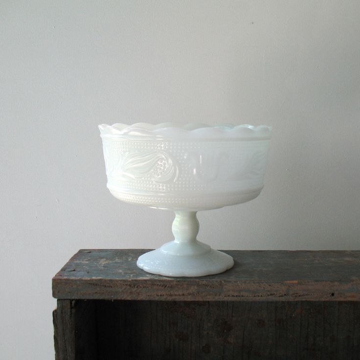 "Very pretty milkglass compote would make a nice candy dish. Marked on bottom, E.O. Brody Co. M 6000 Clevand, USA. In good condiotn, no chips or cracks. Dimensions: 6 5/8"" diameter x 5 1/2"" H Weight: 2"