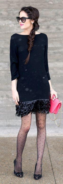 Black 30's Sequin Fringe Shift Dress by Pink Peonies
