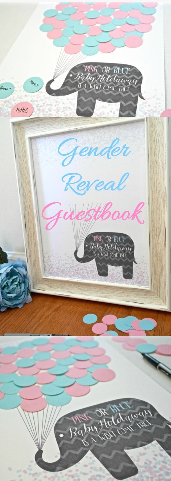 "This Gender Reveal or Neutral Baby Shower Guest Sign In is the perfect addition to your baby shower party decor! Let guests show you whether they think you are having a boy or a girl by signing their name on either a pink or blue ""balloon"" to cast their vote and complete the adorable elephant print. The text will be personalized to read, ""PINK or BLUE, Baby ______ is a wish come true!"" #ad #etsy #genderreveal #babyshower #baby #momtobe"